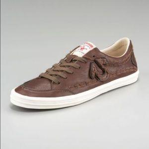 True Religion men's brown leather sneakers sz 13